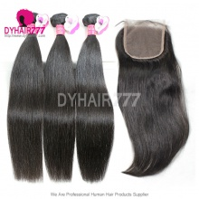 Best Match Top Lace Closure With 3 or 4 Bundles Royal Virgin Remy Hair Malaysian Silky Straight Hair Extensions