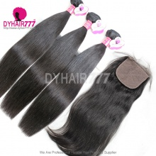 Best Match 4*4 Silk Base Closure With 3 or 4 Bundles Royal Virgin Remy Hair Malaysian Silky Straight Hair Extensions