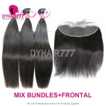 Lace Frontal With 3 Bundles Malaysian Silky Straight Hair Royal Virgin Remy Hair Extensions