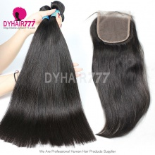 Best Match Top Lace Closure With 4 or 3 Bundles Peruvian Silky Straight Hair Royal Virgin Remy Hair Extensions