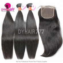 Best Match Top Lace Closure With 3 or 4 Bundles Royal Burmese Virgin Hair Extension Straight Hair