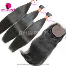 Best Match 4*4 Silk Base Closure With 3 or 4 Bundles Royal Burmese Virgin Straight Hair Extension