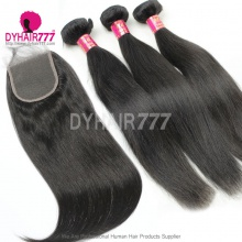 Best Match Top Lace Closure With 3 or 4 Bundles Standard Virgin Remy Hair Malaysian Silky Straight Hair Extensions