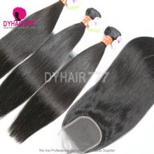 Best Match Top Lace Closure With 3 or 4 Bundles Standard Virgin Remy Hair Burmese Silky Straight Hair Extensions