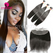Lace Frontal With 3 Bundles Burmese Silky Straight Hair Standard Virgin Remy Hair Extensions