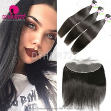 Lace Frontal With 3 Bundles Mongolian Silky Straight Hair Standard Virgin Remy Hair Extensions