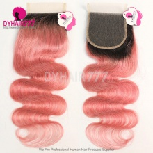 Lace Top Closure (4*4) Body Wave 1B/Pink Human Virgin Hair