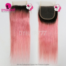 Lace Top Closure (4*4) Straight Hair 1B/Pink Human Virgin Hair