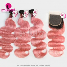 Two Tone Ombre 1B/Pink 4x4 Lace Closure With 3 /4 Bundles Brazilian Body Wave Royal Virgin Human Hair Extensions