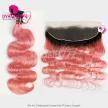 Ombre 1B/Pink 13*4 Lace Frontal With 3 Bundles Royal Virgin Brazilian Body Wave Human Hair Extensions