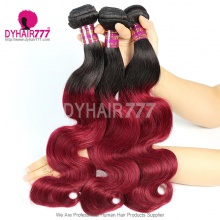 3 or 4pcs/lot 1B/99J Brazilian Hair Weave Bundles Burgundy Hair Non Remy Hair Extensions