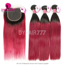 Ombre Human Hair 3 Bundles With Lace Closure 1B/99J Burgundy Red Peruvian Straight Hair Extension