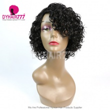 150% Density Short Bob Wig Small Curly Hair 100% Human Hair Lace Wig RE2C-084H NATURAL
