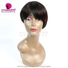 150% Density Short Bob Wig Straight Hair 100% Human Hair Lace Wig RE2W-031 T1B/99J