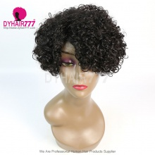 150% Density Short Bob Wig Curly Hair 100% Human Hair Lace Wig RF3C-124 #1B