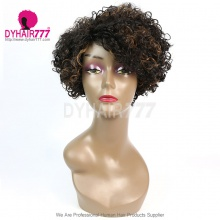 150% Density Short Bob Wig Curly Hair 100% Human Hair Lace Wig RF3C-124 F1B/30