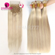 2 or 3 Bundles With Free part 4x4 Lace Closure Color P18/613 Brazilian Straight Hair Human Hair Extension