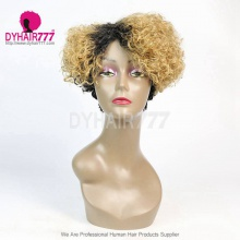 Ombre T1b/27 Density 150% Short Bob Wig Curly Hair 100% Human Hair Lace Wig RF3C-124-T1B-27
