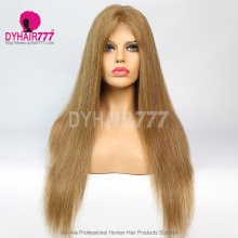 Closure Wig 180% Density Color 8 Lace Wig Straight Hair 100% Virgin Human Hair