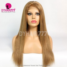 Closure Wig 180% Density Color 6 Lace Wig Straight Hair 100% Virgin Human Hair
