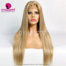 Closure Wig 180% Density Color P8/613 Lace Wig Straight Hair 100% Virgin Human Hair