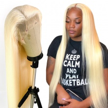 #613 Wig 130% density Virgin Human Hair Straight Blonde Full Lace Wigs With Nautal Hairline