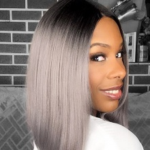250% Density Bob Lace Front Wig Ombre Color 1B/Grey Straight Virgin Human Lace Wig