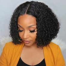 180% Density Celebrity Style Small Kinky Curly Wig Bob Wig 100% Vigin Human Hair Lace Frontal Wig