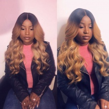 Stylist Wig 100% Virgin Human Hair Wavy Ombre Color As Picture 7Days to Ready