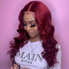 Stylist Wig As Picture 7Days to Ready 100% Virgin Human Hair Wavy Dark Red