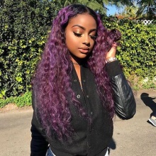 Stylist Wig As Picture 7Days to Ready 100% Virgin Human Hair Curls Ombre Orchid Purple