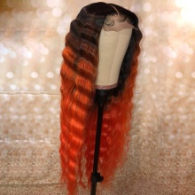 Stylist Wig As Picture 7Days to Ready 100% Virgin Human Hair Loose Deep Wavy Ombre Orange