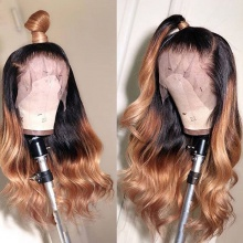 Stylist Wig As Picture 7Days to Ready 100% Virgin Human Hair Body Wave Ombre Color Brown