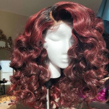 Stylist Wig As Picture 7Days to Ready 100% Virgin Human Hair Loose Curls Ombre Burgundy