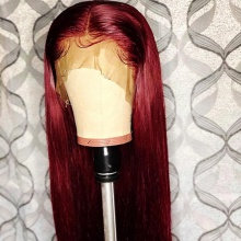 Stylist Wig As Picture 7Days to Ready 100% Virgin Human Hair Straight Hair Maroon Color
