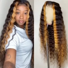 Stylist Wig As Picture 7Days to Ready 100% Virgin Human Hair Deep Curls Highlighted Ombre Brown Color