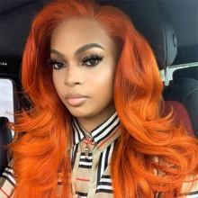 Stylist Wig As Picture 7Days to Ready 100% Virgin Human Hair Wavy Luminous orange