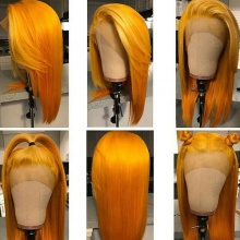 Stylist Wig As Picture 7Days to Ready 100% Virgin Human Hair Straight Dahlia Yellow