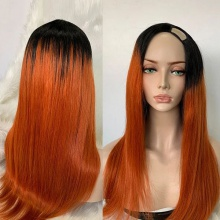 Stylist Wig As Picture 7Days to Ready 100% Virgin Human Hair U Part Wig Wavy Ombre Color 1B/Orange