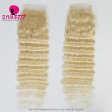 Knots Bleached Blonde 613 Lace Top Closure 4X4 Human Virgin Hair Deep Wave