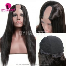 U Part Wigs 300% Density Straight Virgin Human Hair 100% Unprocessed Natural Color