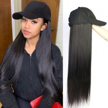Cap Hair Extension Straight Hair Hat Wig 100% Virgin Human Hair Top Quality Natural Color
