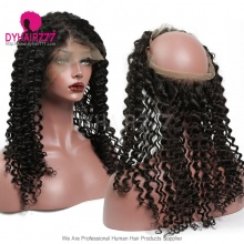 360 Lace Band Frontal Bleached Knots Virgin Human Hair Italian Curly With Baby Hair
