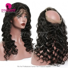360 Lace Band Frontal Bleached Knots Virgin Human Hair Loose Wave With Baby Hair