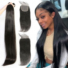Best Match Top Lace Closure With 3 or 4Bundles Standard Virgin Remy Hair Brazilian Silky Straight Hair Extensions