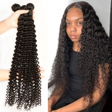 1 Bundle Deep Curly Brazilian Standard Virgin Hair Natural Color 1B NO Tangle No Shedding DY Hair Extensions