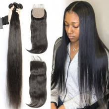 Best Match 4*4 Silk Base Closure With 3 or 4 Bundles Standard Virgin Remy Hair Brazilian Silky Straight Hair Extensions