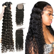Best Match 4*4 Silk Base Closure With 3 or 4 Bundles Brazilian Deep Wave Standard Virgin Human Hair Extensions
