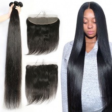 Lace Frontal With 3 Bundles Brazilian Silky Straight Hair Standard Virgin Remy Hair Extensions