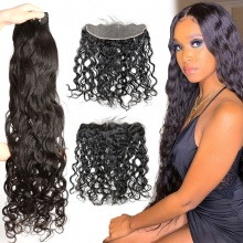 Lace Frontal With 3 Bundles Brazilian Natural Wave Standard Virgin Human Hair Extensions